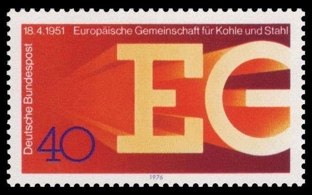 Марка посвященная 25-летию образования Европейскго союза угля и стали