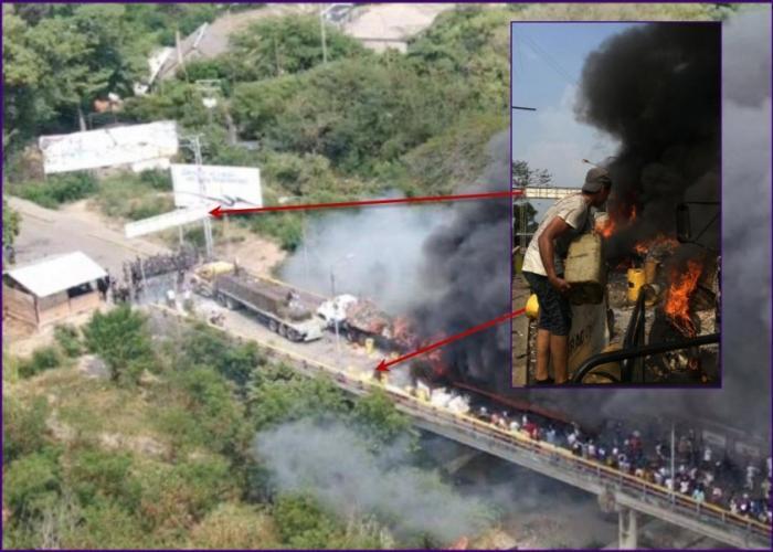 Кто поджёг грузовики с «гумпомощью» на границе Венесуэлы и Колумбии