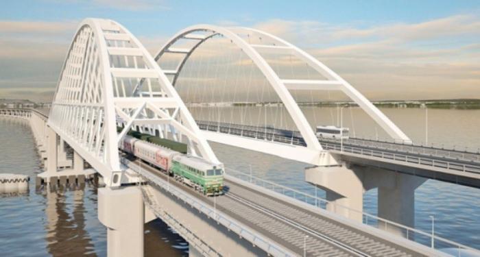 Железнодорожный подход Крымского моста сняли с высоты птичьего полета