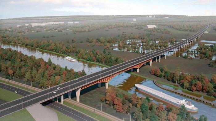 Ход строительства моста на 3-м пусковом комплексе ЦКАД через канал имени Москвы