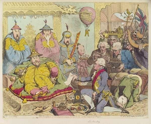 Карикатура Джеймса Гилрея, изображающая отношение китайцев к европейским диковинкам, даримым британским посольством Макартни в 1793 г.  Общественное достояние, https://commons.wikimedia.org/w/index.php?curid=6370744