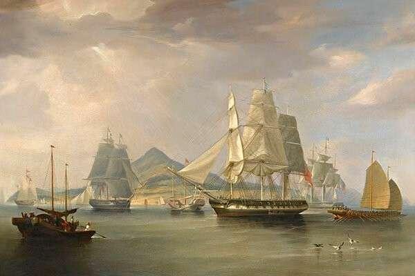 Корабли с опиумом у острова Линдин, У. Хаггинс. 1824 г. // wikipedia.org