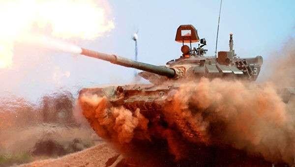 Танк Т-72Б3 на полигоне Кадамовский в Ростовской области