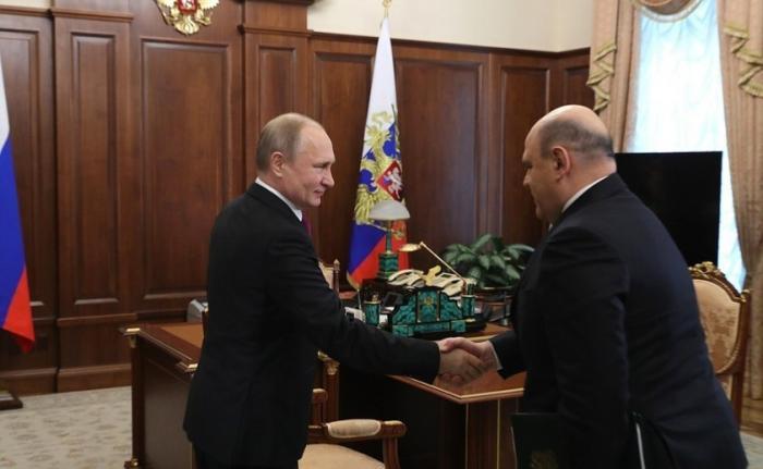 Владимир Путин провёл рабочую встречу сглавой Федеральной налоговой службы Михаилом Мишустиным