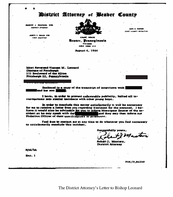 The District Attorney's Letter to Bishop Leonard