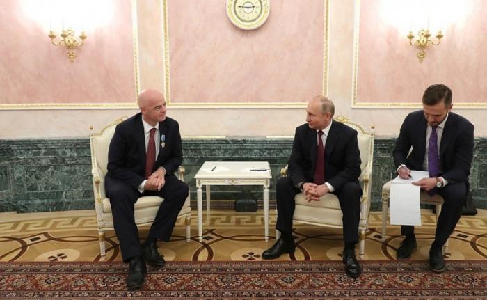 Встреча Владимира Путина с президентом ФИФА Джанни Инфантино