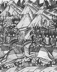 Битва на Косовом поле. Миниатюра из Лицевого летописного свода Ивана Грозного (фото: общественное достояние)
