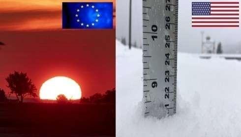 В Европе невиданная за 1500 лет жара, а в США всё еще идет снег