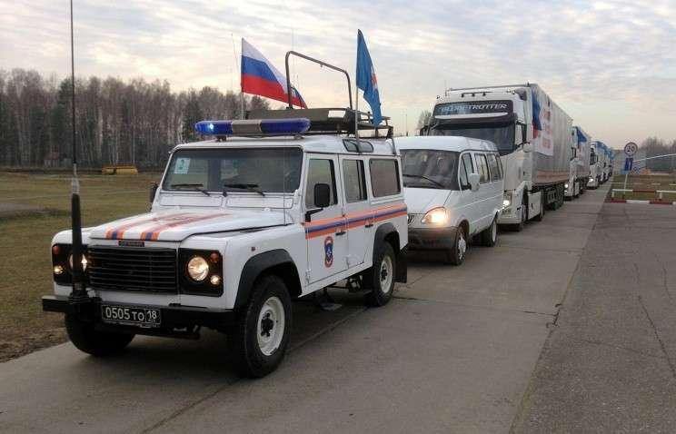 Автоколонна с гуманитарной помощью для жителей востока Украины выехала из Подмосковья