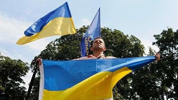 Участник митинга у Верховной Рады Украины