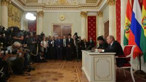 Владимир Путин и Президент Боливии Эво Моралес сделали заявления для прессы
