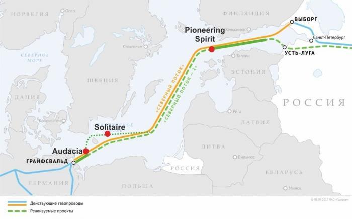 Дания тормозит, а морская часть газопровода «Северный поток-2» уложена уже на две трети