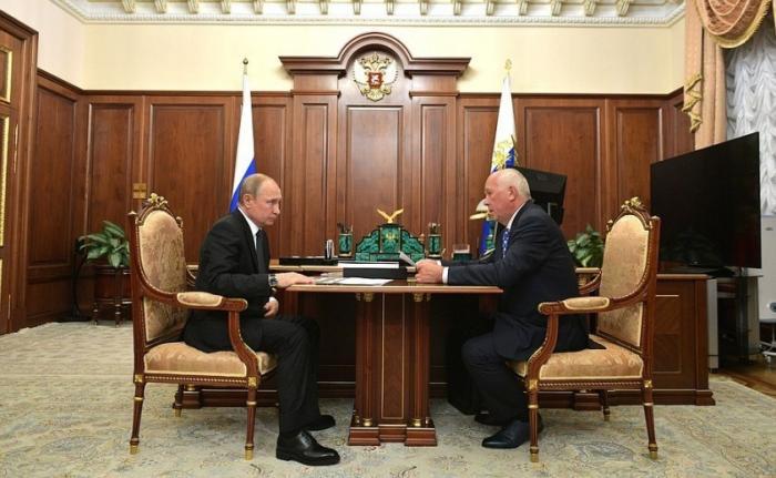 Встреча Владимира Путина сглавой госкорпорации «Ростех» Сергеем Чемезовым