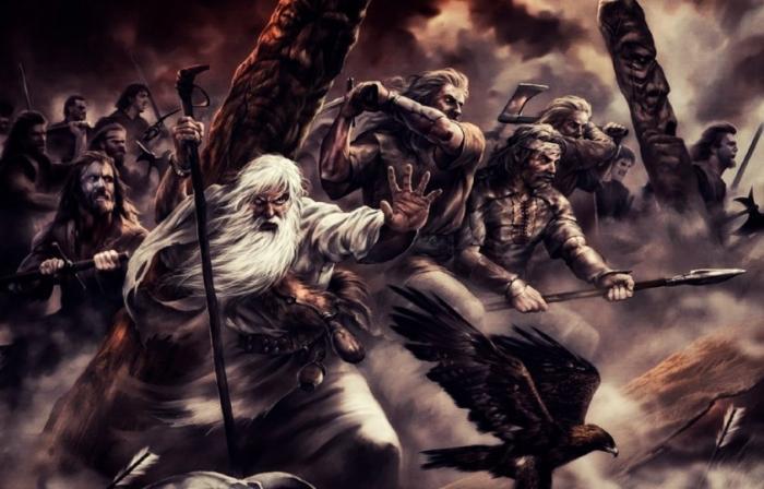 Завет. Старик с мечом в рубахе белой идёт упрямо впереди
