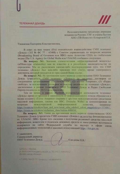 Документ, подтверждающий, что «Дождь» – официальное СМИ госструктуры США