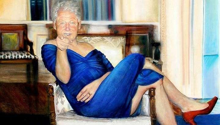 В особняке педофила Эпштейна найден портрет гомосека Клинтона в платье
