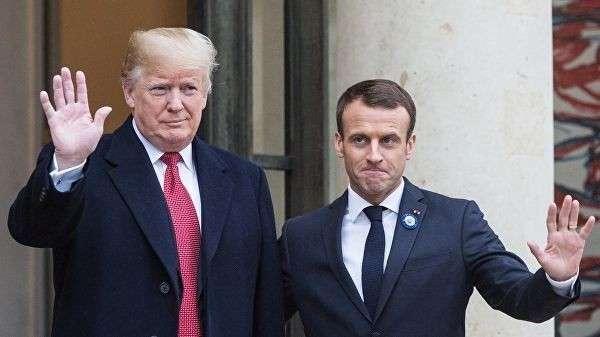 Президент Франции Эммануэль Макрон принимает президента США Дональда Трампа