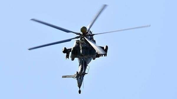 Вертолет Ми-28НМ выполняет демонстрационный полет на Международном авиационно-космическом салоне МАКС-2019
