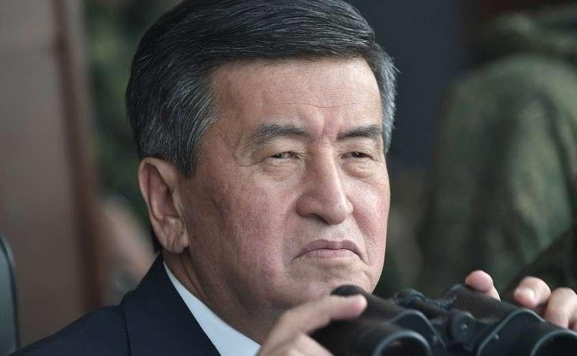 Наблюдение за основным этапом стратегических командно-штабных учений «Центр-2019». Президент Киргизии Сооронбай Жээнбеков.