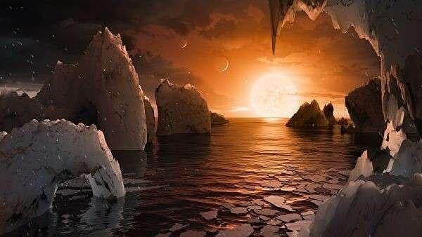 Так художник представил себе планету TRAPPIST-1f, ближайший кандидат на роль двойника Земли