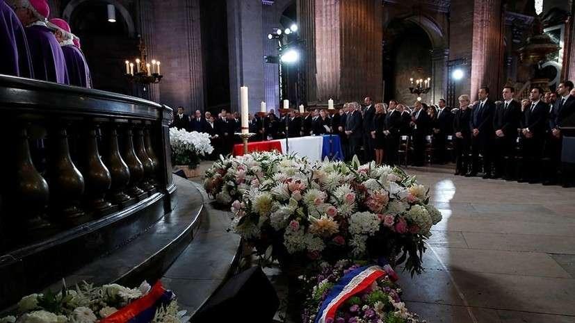 Путин участвует в церемонии прощания с Жаком Шираком