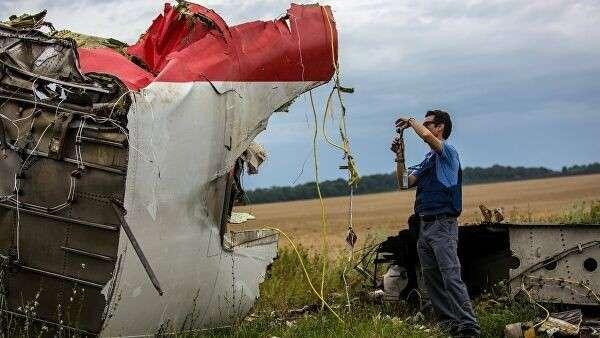 Место крушения лайнера Boeing 777 Малайзийских авиалиний в районе города Шахтерск Донецкой области