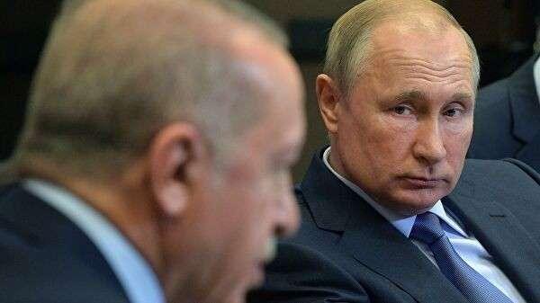 Президент РФ Владимир Путин и президент Турции Реджеп Тайип Эрдоган во время встречи