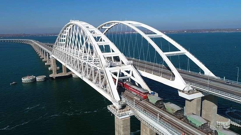 На Крымском мосту начались испытания тяжёлой нагрузкой железнодорожной части конструкции