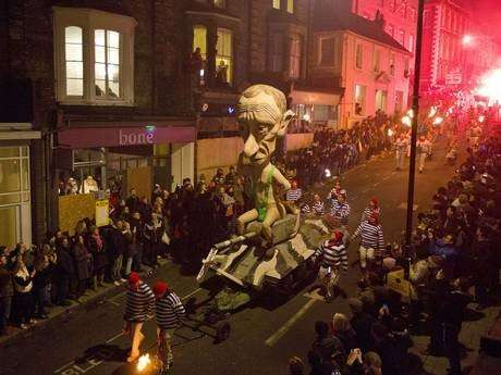 An effigy of Russian President Vladimir Putin is paraded through the streets of Lewes in Sussex, on November 5, 2014