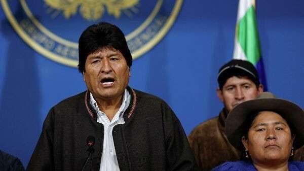 Действующий президент Боливии Эво Моралес во время выступления перед журналистами в городе Эль-Альто. 10 ноября 2019