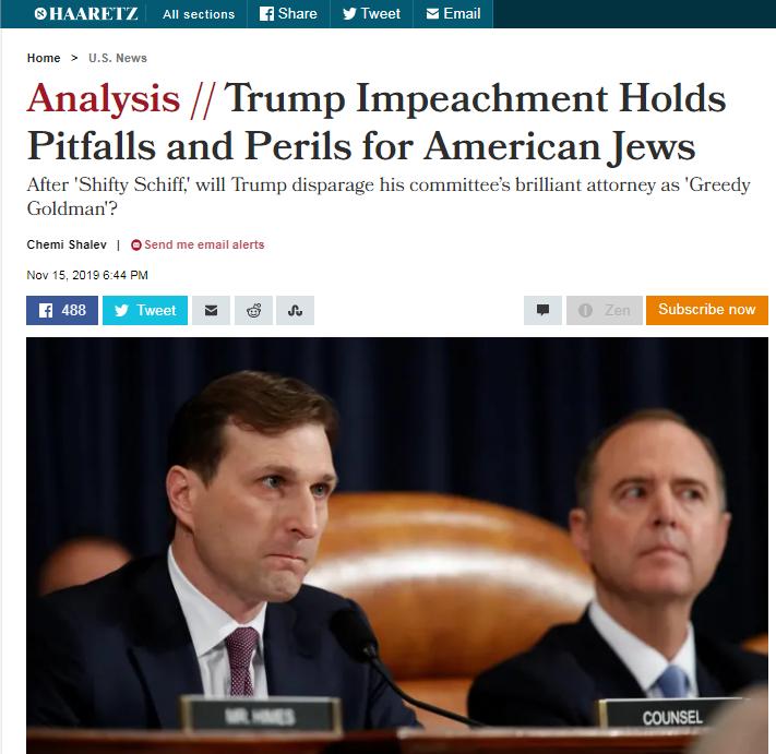 Израильские СМИ хвастаются: жиды стоят за импичментом Трампу