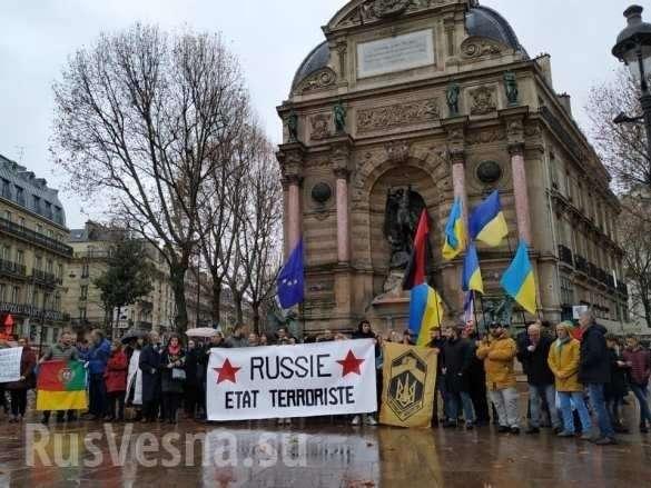 Франция. Бандеровский митинг в Париже забросали яйцами | Русская весна
