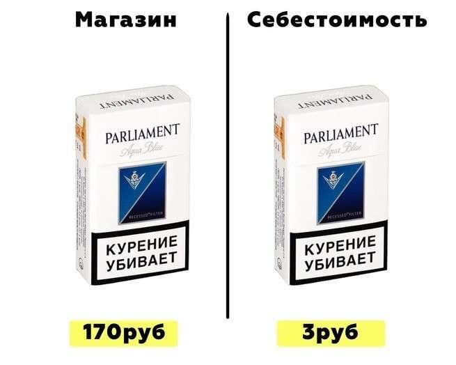 Себестоимость производства пачки сигарет, выпускаемых в России