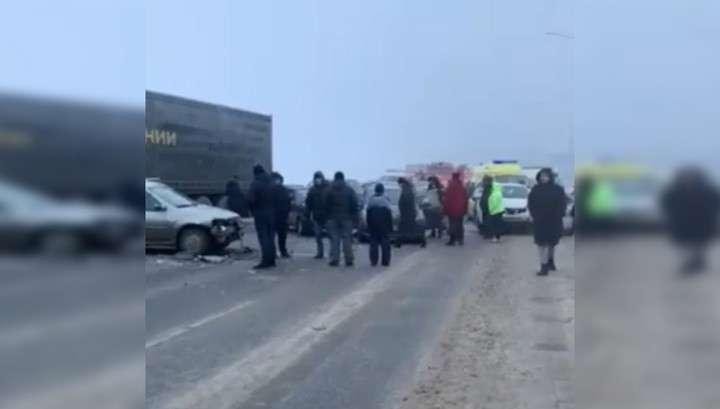 В окрестностях Перми столкнулись больше двух десятков машин