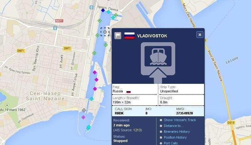 Первый вертолётоносец «Мистраль» в международной системе AIS перешёл под флаг России