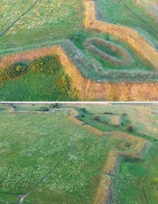 Прошли почти 3 столетия, а очертания земляных валов видны до сих пор (Аннинская крепость). | Фото: youtube.com.