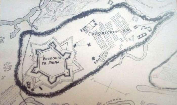 Карта расположения крепости Св. Анны и слободы. | Фото: proza.ru.