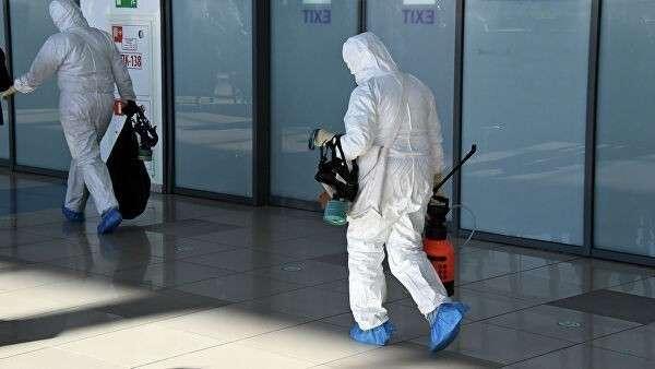 Работники санитарно-карантинного контроля в аэропорту Владивостока