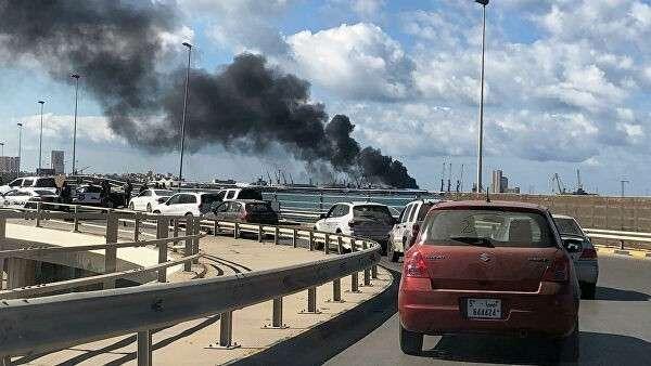 Дым в порту Триполи. 18 февраля 2020
