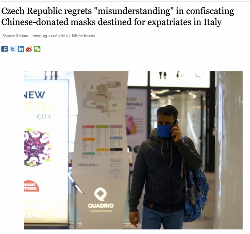 Чехия сожалеет, что украла гуманитарный груз масок из Китая для Италии