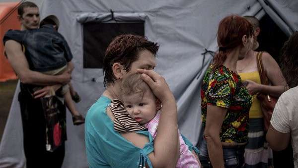 Лагерь беженцев из Украины в Ростовской области