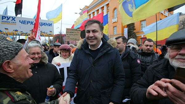 Бывший губернатор Одесской области Украины и лидер политической партии Рух нових сил Михаил Саакашвили во время митинга в Киеве