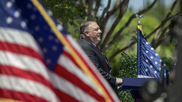 Госсекретарь США Майкл Помпео во время выступления в калифорнийском городе Йорба-Линда. 23 июля 2020 года