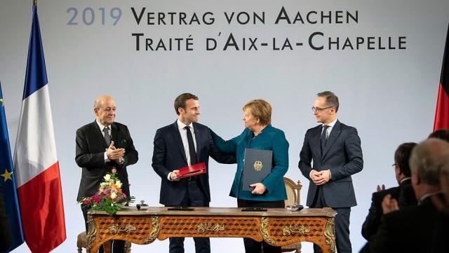 Встреча Ангелы Меркель и Эммануэля Макрона в Ахене. 2019